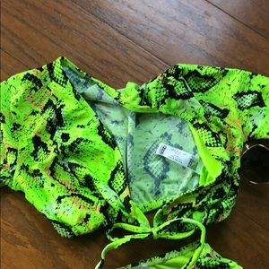 ASOS Swim - ASOS Lime Green Snake Bikini High Waist Bottoms 4